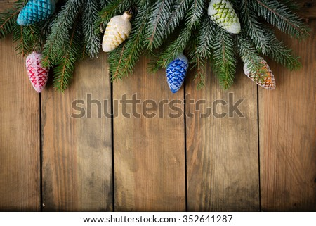 christmas rustic with decorations background, top - stock photo
