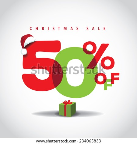 Christmas sale big bright overlapping design 50% off  - stock photo