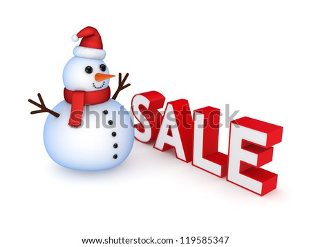 Christmas sale concept.Isolated on white background.3d rendered. - stock photo