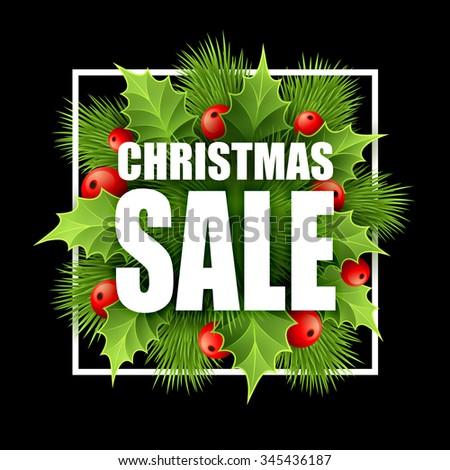 Christmas sale design with holly. illustration  - stock photo