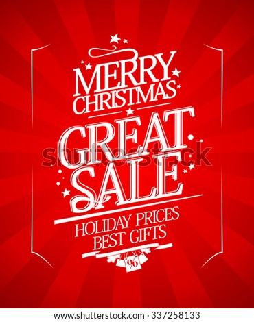 Christmas sale design with rays in retro style, rasterized version. - stock photo