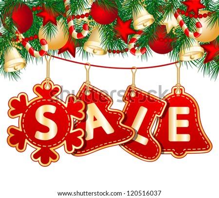 Christmas Sale Tags on christmas signs. - stock photo