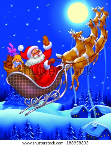 Christmas Santa Claus flying on the sledge with reindeer and gifts - art illustration  - stock photo
