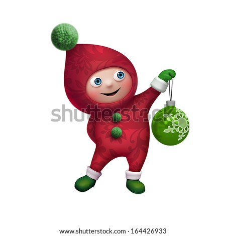 Christmas Santa elf holding glass ball, 3d character clip art isolated on white background - stock photo
