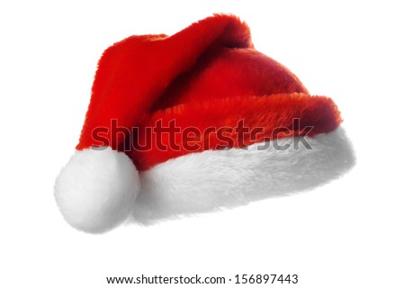 Christmas santa hat,  isolated on white - stock photo