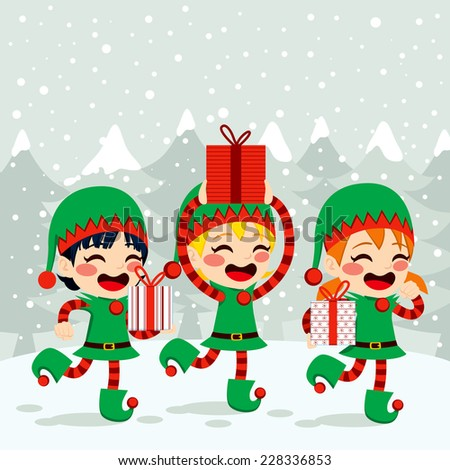 Christmas Santa helpers elves carrying presents on snow background - stock photo
