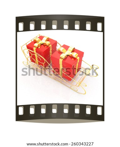 Christmas Santa sledge with gifts on a white backgroundt. The film strip - stock photo