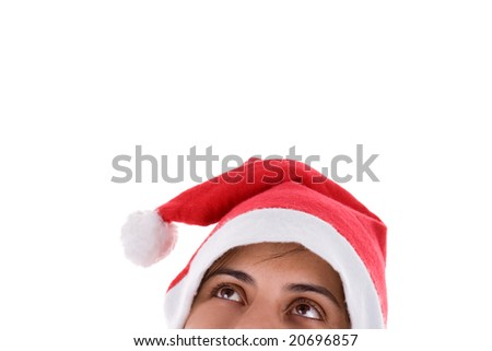 Christmas Santa Woman looking up isolated on white background - stock photo