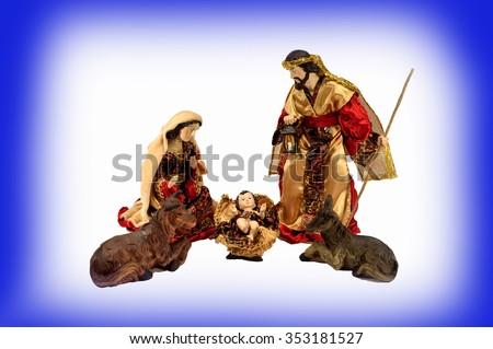 Christmas scene . Baby Jesus, Mary, Joseph on light white and blue background. - stock photo