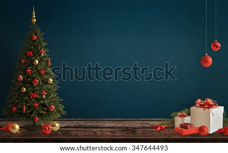 Christmas scene with tree and decorations, lights, ornaments, balls, gifts. Free space on wall for Christmas card text. - stock photo