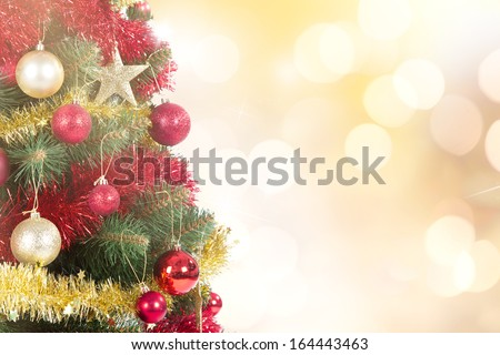 Christmas scene with tree, close-up. - stock photo