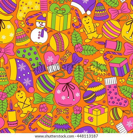 Christmas seamless background with many winter doodles. Greating card. Toys, cookies, snowmen, fir, candies, socks, gifts, bows, snowflakes, stars, hollies, mittens, etc. - stock photo