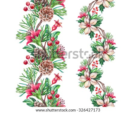 Christmas seamless border design elements, floral garland, watercolor illustration isolated on white background - stock photo
