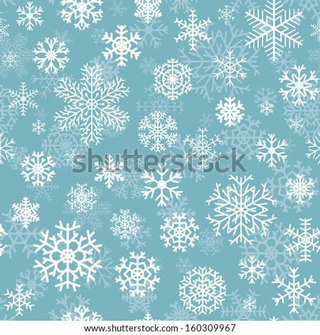 Christmas seamless pattern from white snowflakes on turquoise background. Raster version. - stock photo