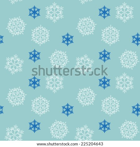 Christmas seamless pattern of snowflakes on blue background - stock photo