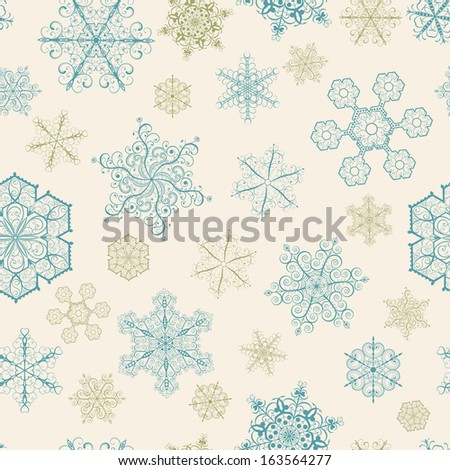 Christmas seamless pattern with big and small snowflakes on beige background. Raster version. - stock photo
