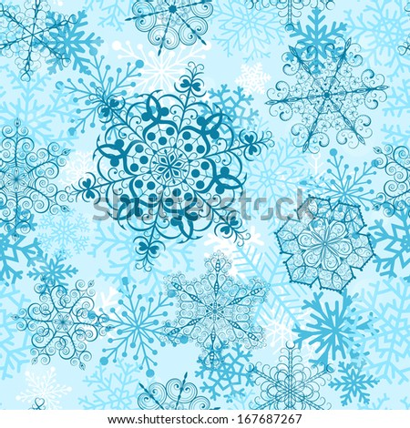 Christmas seamless pattern with big turquoise snowflakes. Raster version. - stock photo
