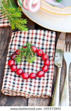 christmas  serving with homemade cranberry wreath  - stock photo
