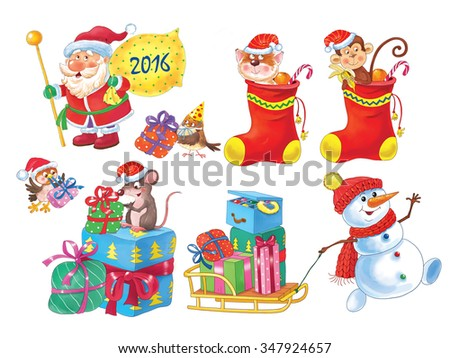 Christmas set of cute characters. Santa Claus, snowman, sparrow, rat, kitten and monkey wearing Christmas caps. Christmas socks full of oranges and candies. Gift boxes. New Year collection - stock photo