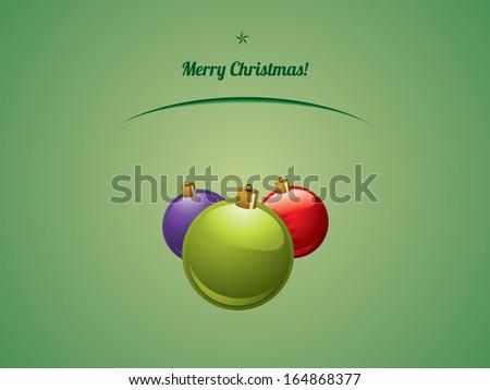 Christmas shiny baubles postcard - stock photo