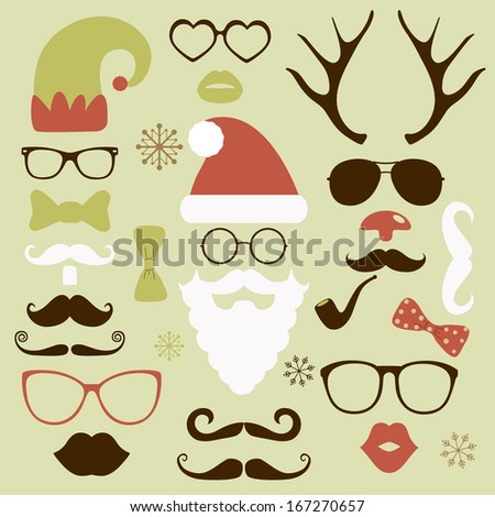 Christmas silhouette set hipster style, illustration icons isolated - stock photo