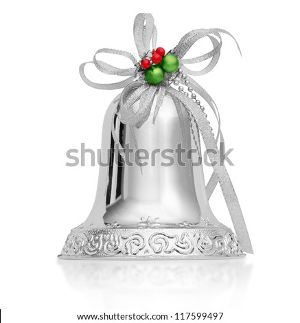 Christmas silver bell isolated on a white background - stock photo