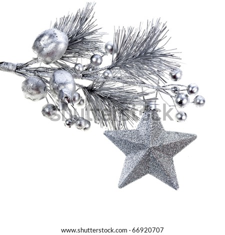 Christmas  silver decorative twig isolated on white - stock photo