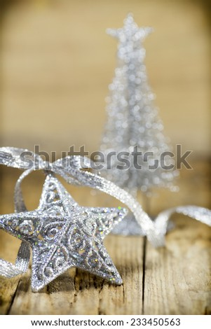 Christmas silver, gold decor. Greeting card. Christmas background. - stock photo