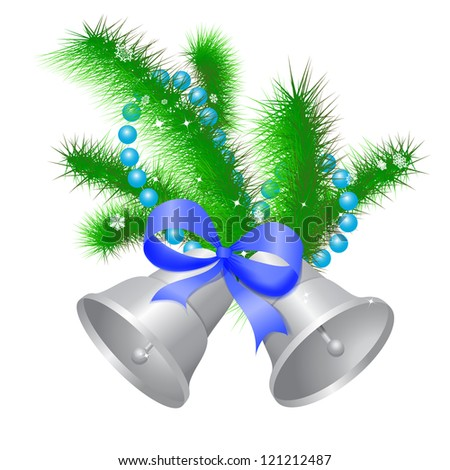 Christmas silver hand bells with a blue bow on a fir-tree branch. - stock photo