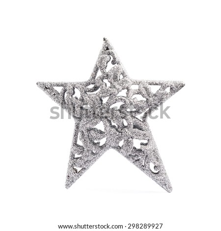 Christmas silver star decoration piece isolated over the white background - stock photo