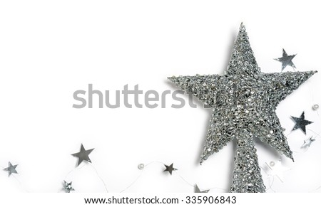 christmas silver stars - stock photo
