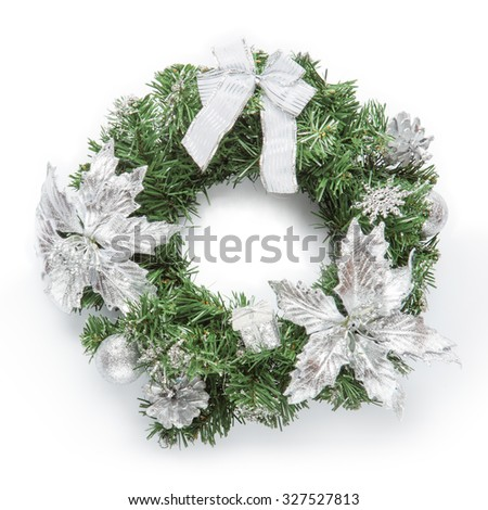 Christmas silver wreath isolated on white. - stock photo