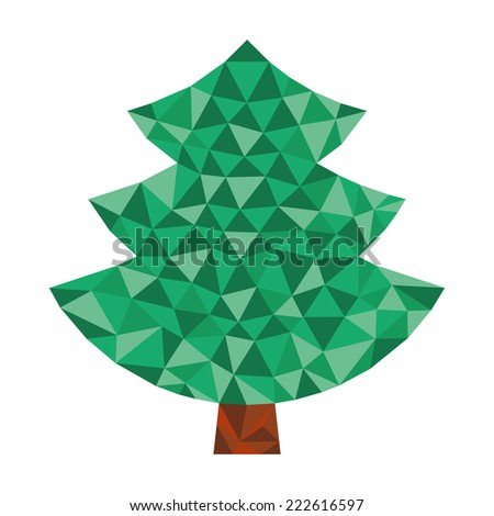christmas simple coniferous tree in triangular design in natural colors - stock photo