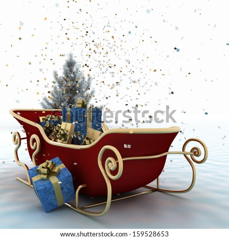 Christmas sledges of Santa with gifts, of confetti and christmas tree on a white background - stock photo