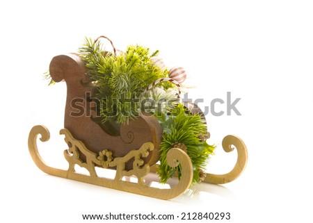 christmas sleigh on white - stock photo