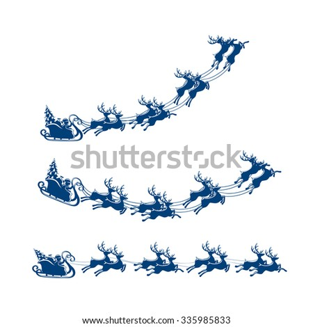 Christmas sleigh with reindeer and Santa isolated on white background, illustration. - stock photo