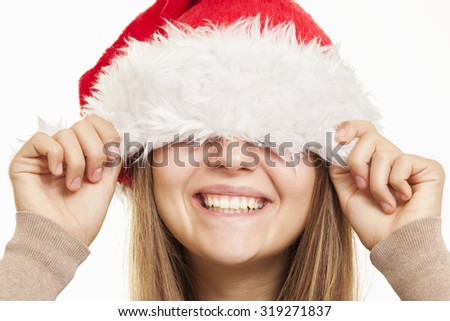 Christmas smile closeup - stock photo