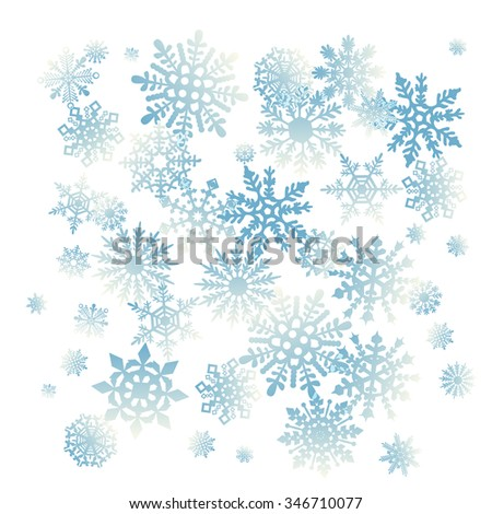 Christmas snowflakes snow winter holiday ornament illustration whrite background art - stock photo
