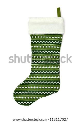 Christmas sock isolated on white - stock photo