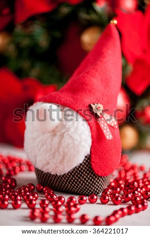 Christmas soft toy gnome - stock photo