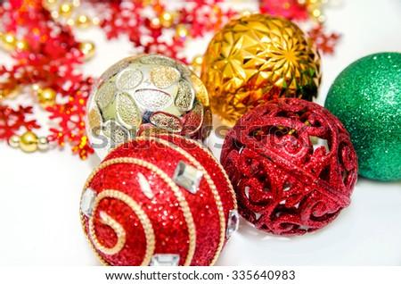 Christmas spheres on the white background - stock photo