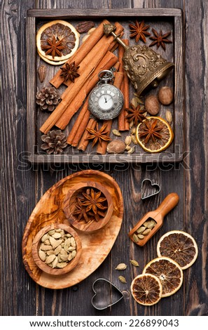 Christmas spices and decoration. Christmas food background - stock photo
