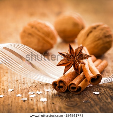 christmas spices cinnamon and anise  - stock photo