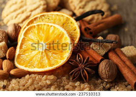 Christmas spices, nuts and baking ingredients, close-up - stock photo