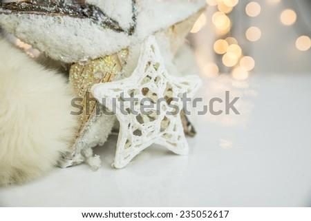 Christmas star and lights.  - stock photo
