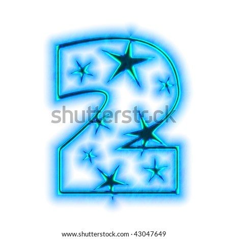 christmas star font - number two - stock photo