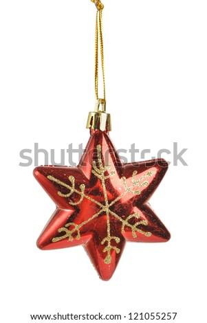 Christmas star shape toy isolated on white - stock photo