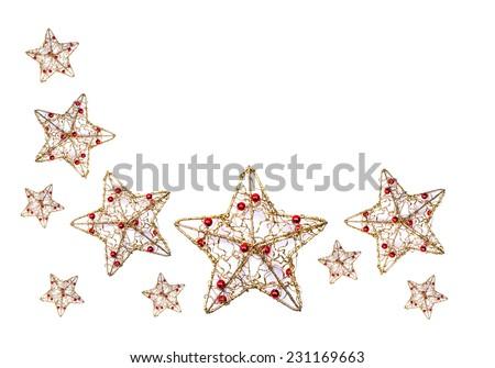 Christmas stars decoration isolated on white background - stock photo