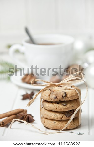 christmas still life with biscuits - stock photo