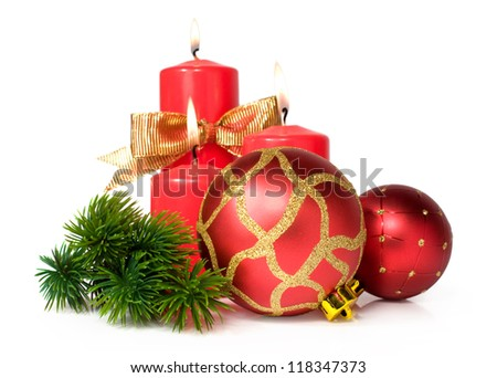 Christmas still life with candles and balls - stock photo